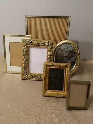 Lot of 6 Vintage Gold Tone Brass Picture Frames 8×10 5×7 4×6  2×3