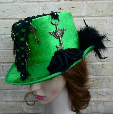 Unique Green Steampunk Top Hat Roses Keys Feathers Corset (A)