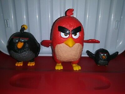 Angry Birds Movie Large Figures Toy Lot 3pc McDonalds Burger King 2016