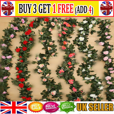 2x 8Ft Artificial Rose Garland Silk Flower Vine Ivy Wedding Garden Home Decor AR