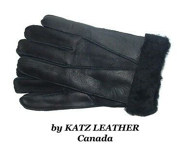 NEW!Mens/Womens Warm Black Winter Sheepskin Shearling Gloves Unisex Real Leather