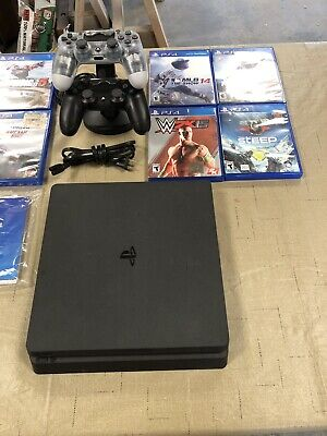Sony PlayStation 4 Slim 500GB Console with 2 Controllers And 9 Games - Black
