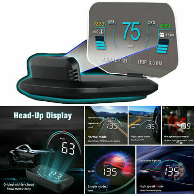 Head UP Display Projector Speed/RPM/Voltage Warning HUD OBD2 GPS Fault Code Scan