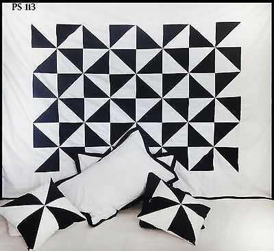 Black White Beautiful Twin Duvet Cover Set Patchwork 100%Cotton Bedspread #113