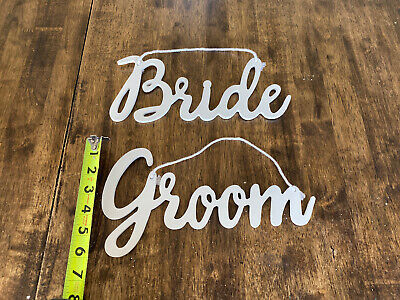 """6"""" Tall Cursive Bride and Groom signs. Perfect for Wedding Decorations."""