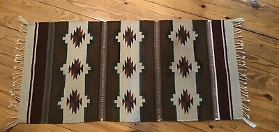 Southwest Design Woven Throw Rug From Mexico, 100% Wool, 28x57""