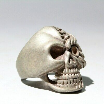 Collectable China Old Miao Silver Carve Skeleton Head Auspicious Exorcism Ring