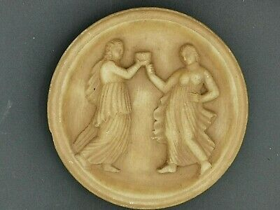 Greco bactrian rare emperor and empress white stone plate relief