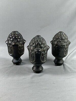 3 Vtg Metal Finials Acorn Pineapple