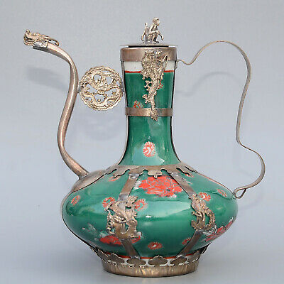 Collection Miao Silver Armour Porcelain Hand-Carved Monkey & Myth Dragon Tea Pot