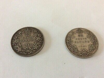 CANADA Silver 25 Cents 1912 and 1916