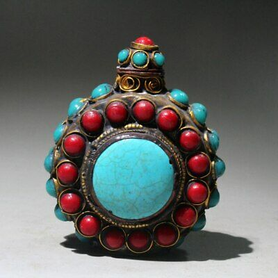 Collectable Chinese Turquoise Mosaic Agate Hand-Carved Royal Unique Snuff Bottle