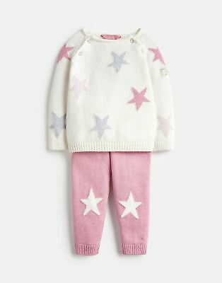 Joules Baby Girls Georgia Knitted Top And Trouser Set - PINK CREAM Size 9m-12m