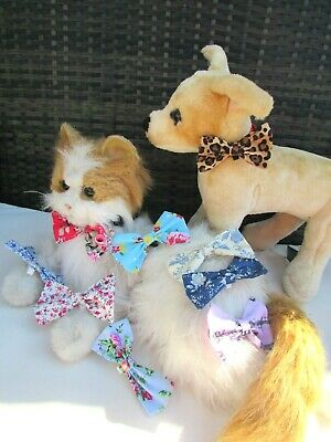 TeenyTiny Cat or Dog Collar Bow just slide on your own Pet Collar Floral Leopard