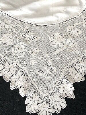 Antique MARY CARD Design Filet Hand Crochet  'Grapevine & Butterfly' Tablecloth