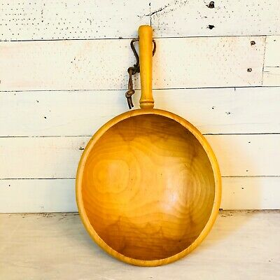 Vintage Baribocraft Wooden Bowl With Handle Canada Light Wood Serving Bowl