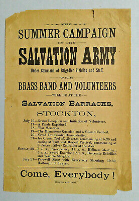 Broadside Salvation Army Summer Campaign Stockton California Drunkards