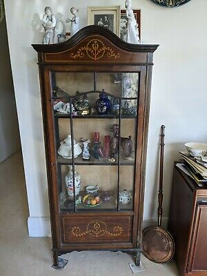 Pretty painted antique Edwardian Display Cabinet glazed on three sides