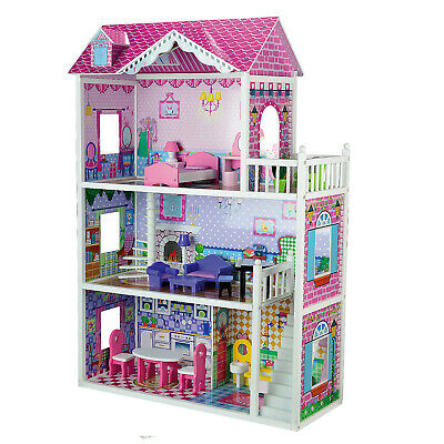 Wooden Toy Dolls House Extra Large 3 Floor 18 Piece Set Matching Furniture Play