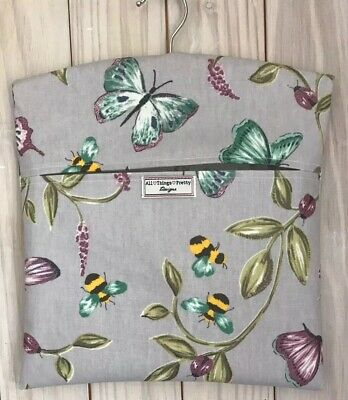 Peg Bag Made In Quality Matt Oil Cloth Fabric - Bees & Butterflies Lilac