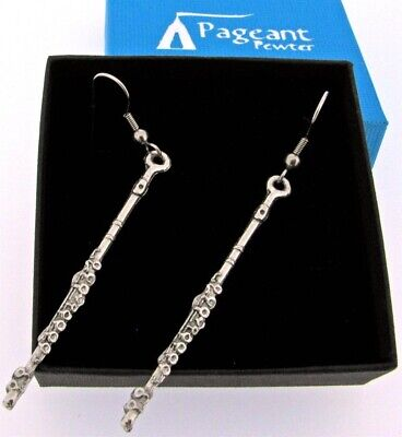 A Pair Of Flute Silver Pewter Earrings