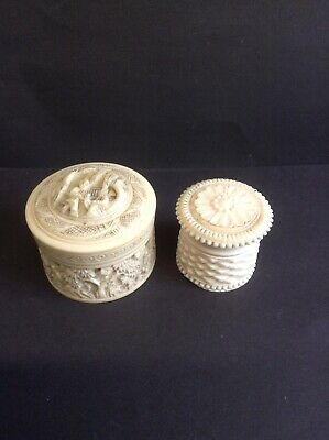 2 X Antique Carved Bovine Bone Trinket Pots