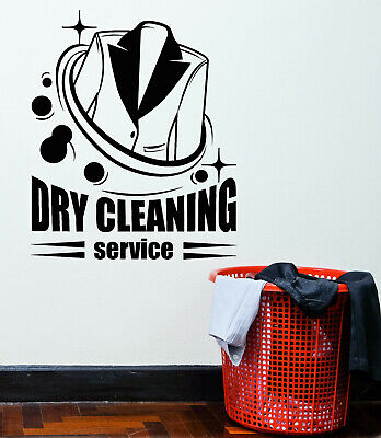 Vinyl Wall Decal Dry Cleaning Service Washing Laundry Stickers Mural (g3003)