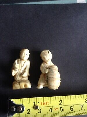 2 X Antique Carved Bovine Bone Figures