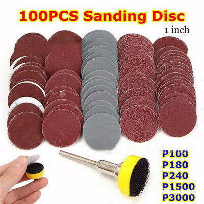 1inch 100X Sanding Discs Pad Kit for Drill Grinder Rotary Tools + Backing Pad AR