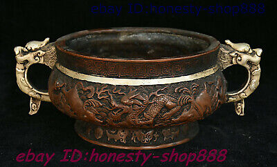Antique Chinese Bronze Silver Beast Head Dragon Loong Incense Burner Censer Bowl