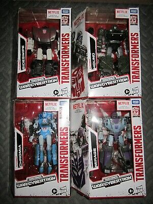Hasbro Transformers Netflix Deluxe Mirage Sideswipe Hound Chromia WFC NEW