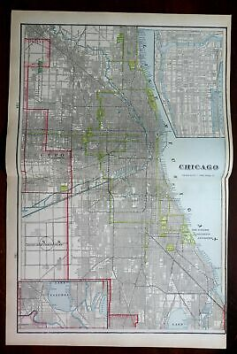 Chicago Illinois detailed city plan 1903 large detailed Cram double page map