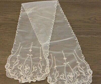 Antique French Net Lace Tambour Lappet Scarf Embroidered Flowers Ivory