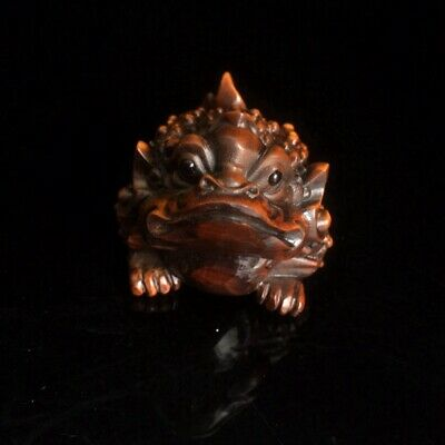 Collectable China Old Boxwood Hand-Carved Golden Toad Bring Luck Delicate Statue