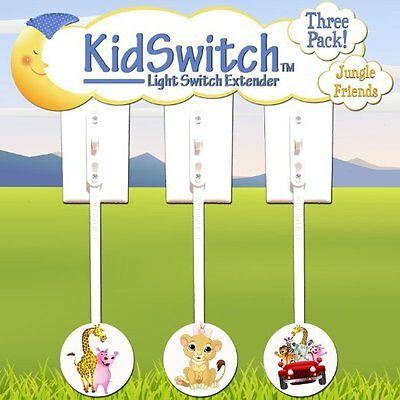NEW -  3 PACK - Light Switch Extender - KidSwitch Jungle - FREE SHIPPING