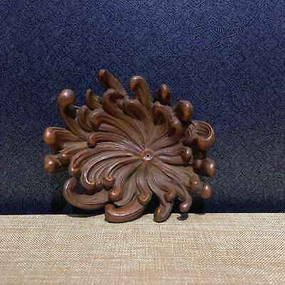 Collectable China Old Boxwood Hand-Carve Delicate Chrysanthemum Inkstone Statue
