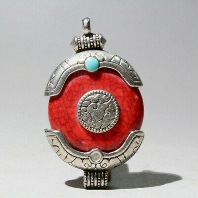 Collectable Chinese Old Miao Silver Agate Cloisonne Handwork Auspicious Pendant