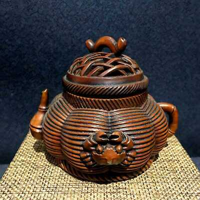 Collectable Chinese Ancient Boxwood Unique Hand-Carved Delicate Crab Rare Censer