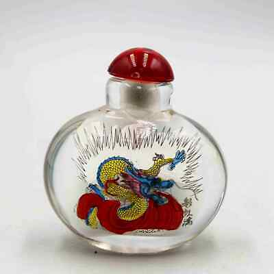Collectable China Glass Interior Paint Painting Dragon Auspicious Snuff Bottles