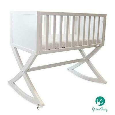 Green Frog, Allegro Cradle | Handcrafted Contemporary Wood Baby Cradle | Premium