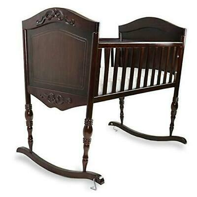 Green Frog, Antique Espresso Cradle | Handcrafted Elegant Wood Baby Cradle | Pre