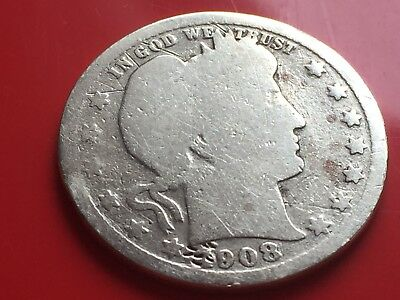 United States Of America One Quarter Dollar Argento 1/4 Dollar 1908 Usa