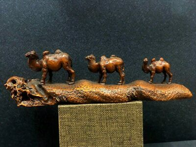 Collectable China Ancient Boxwood Hand-Carved Delicate Vivid Camel Unique Statue