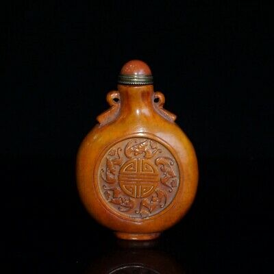 Collectable Chinese Old Deer H0rn Hand-Carved Delicate Noble Unique Snuff Bottle