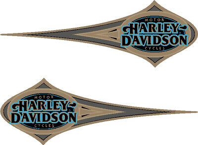 For Harley Davidson Style 1996 Heritage Softtail Blue Gold Tank Decals