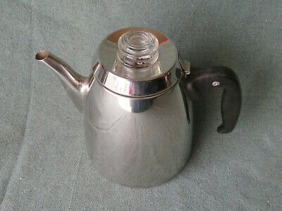 Vintage Stainless Steel 6-CUP Stove Top Percolator Coffee Pot Maker RARE