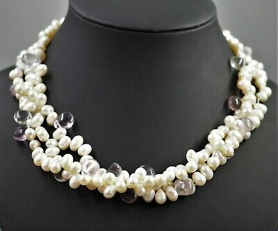 Womens Necklace Triple Strand Baroque Pearls & Glass Fine Vintage Jewellery