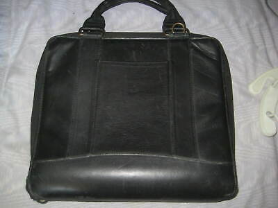 Franklin Covey Black Leather Zipper 7 Ring Binder Attache Case