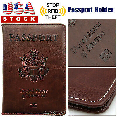 Brown PU Leather Passport Cover Protector ID Card Case Travel Wallet US Stock