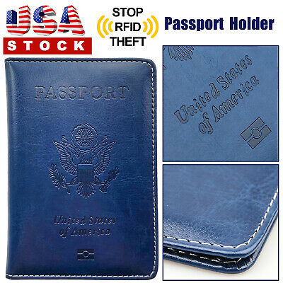 PU Leather Passport Cover Protector ID Case Card Holder Travel Wallet Deep Blue